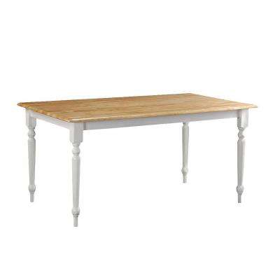 White and Natural Farmhouse Dining Table