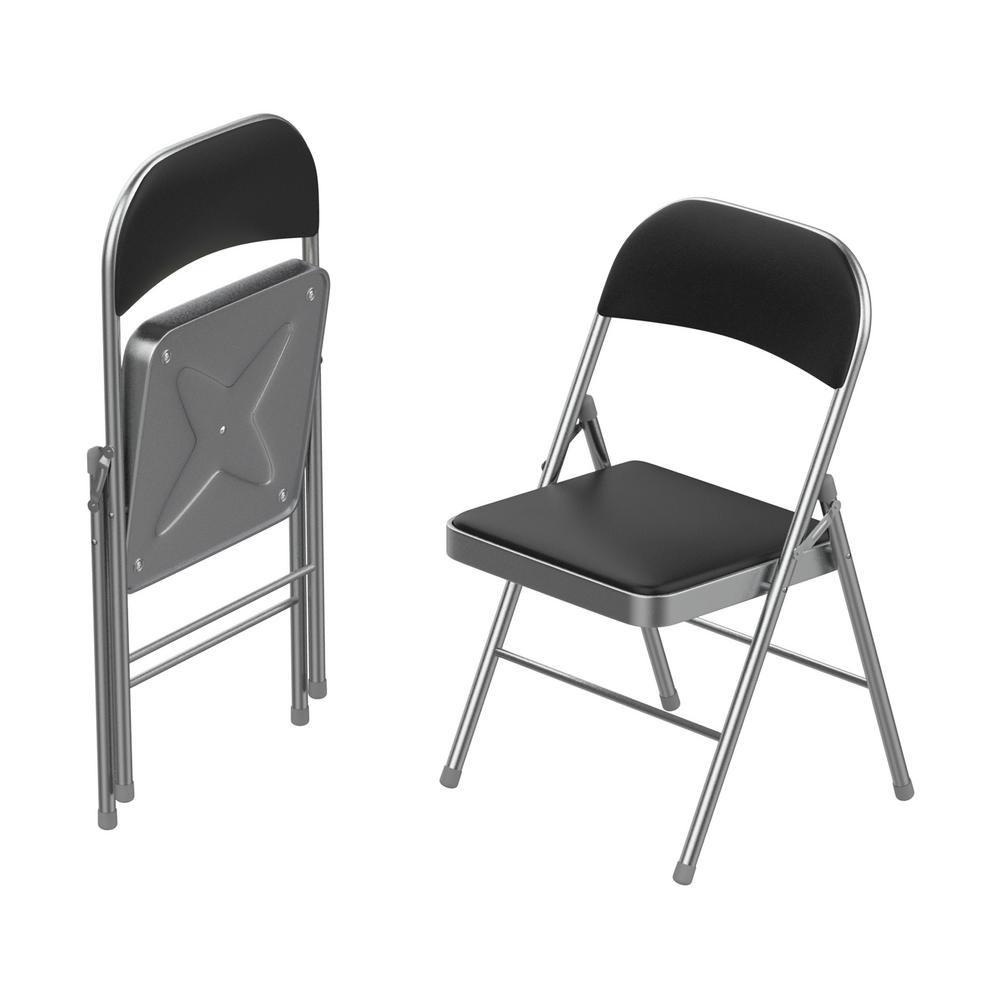Prime Lavish Home Brushed Silver Vinyl Padded Seat Folding Folding Chair Set Of 2 Theyellowbook Wood Chair Design Ideas Theyellowbookinfo