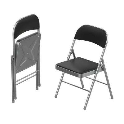 Brushed Silver Vinyl Padded Seat Folding Folding Chair (Set of 2)