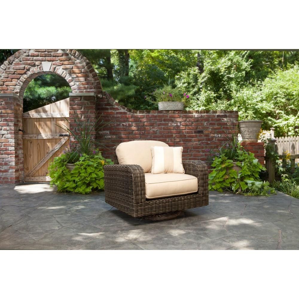 Brown Jordan Northshore Patio Motion Lounge Chair In Harvest With Regency  Wren Outdoor Throw Pillow