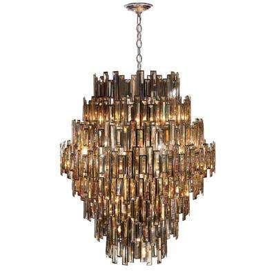 Vienna Collection 28-Light Chrome Chandelier with Crystal Shade