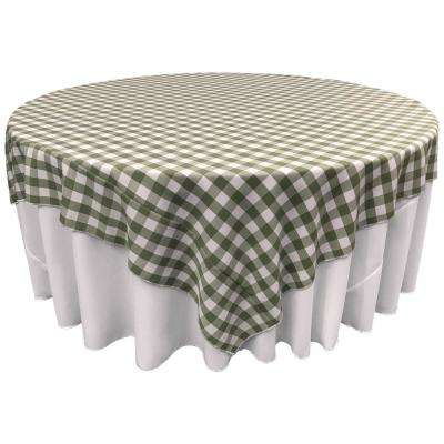 """""""72 in. x 72 in. White and Apple Polyester Gingham Checkered Square Tablecloth"""""""
