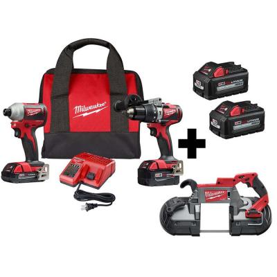 M18 18-Volt Lithium-Ion Brushless Cordless Hammer Drill/Impact/Band Saw Combo Kit (3-Tool) with 4-Batteries