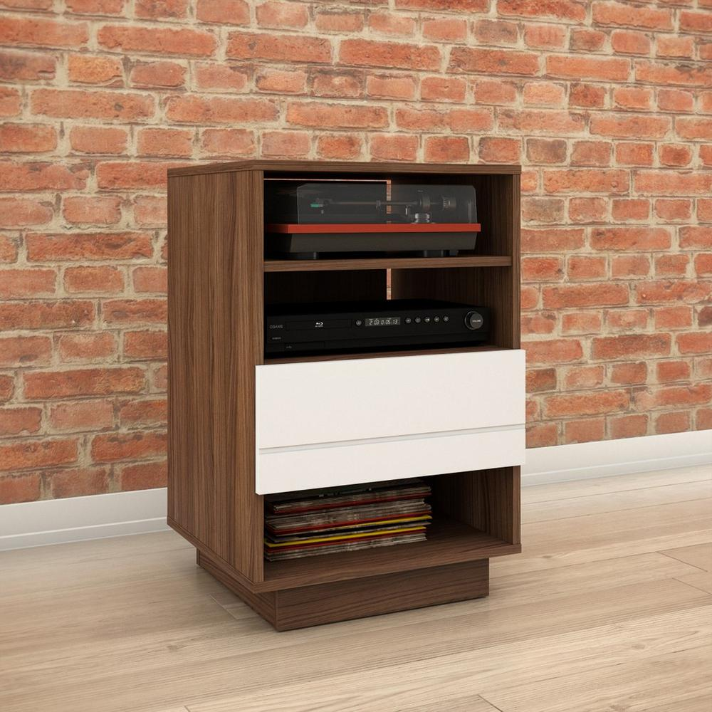 Nexera Sequence Walnut White Audio Tower Image
