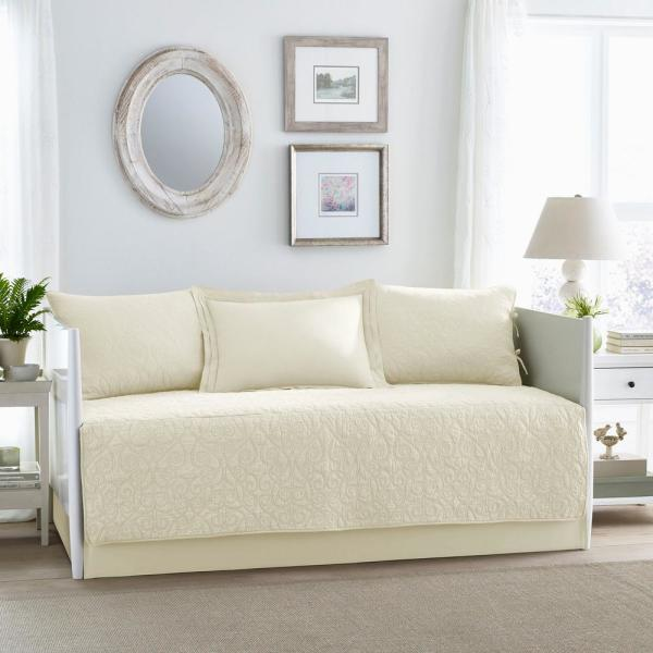 Laura Ashley Felicity 5-Piece Beige Daybed Set 212814 - The Home Depot