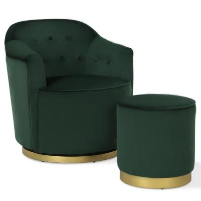 Azalea Forest Green with Gold Metal Base Swivel Chair & Ottoman Set