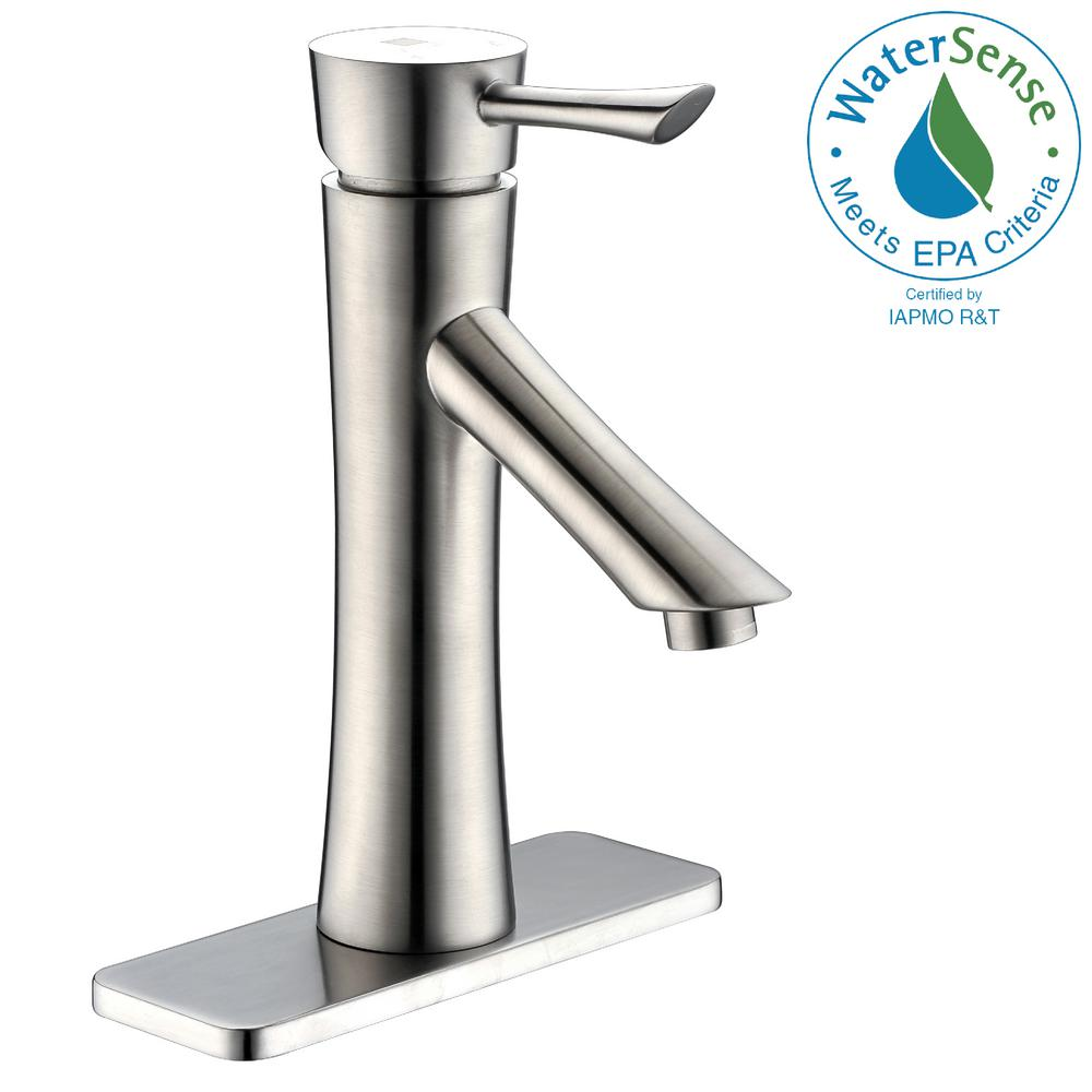 ANZZI Saga Series Single Hole Single-Handle Low-Arc Bathroom Faucet in Brushed Nickel