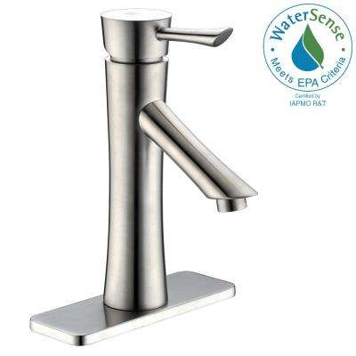 Saga Series Single Hole Single-Handle Low-Arc Bathroom Faucet in Brushed Nickel