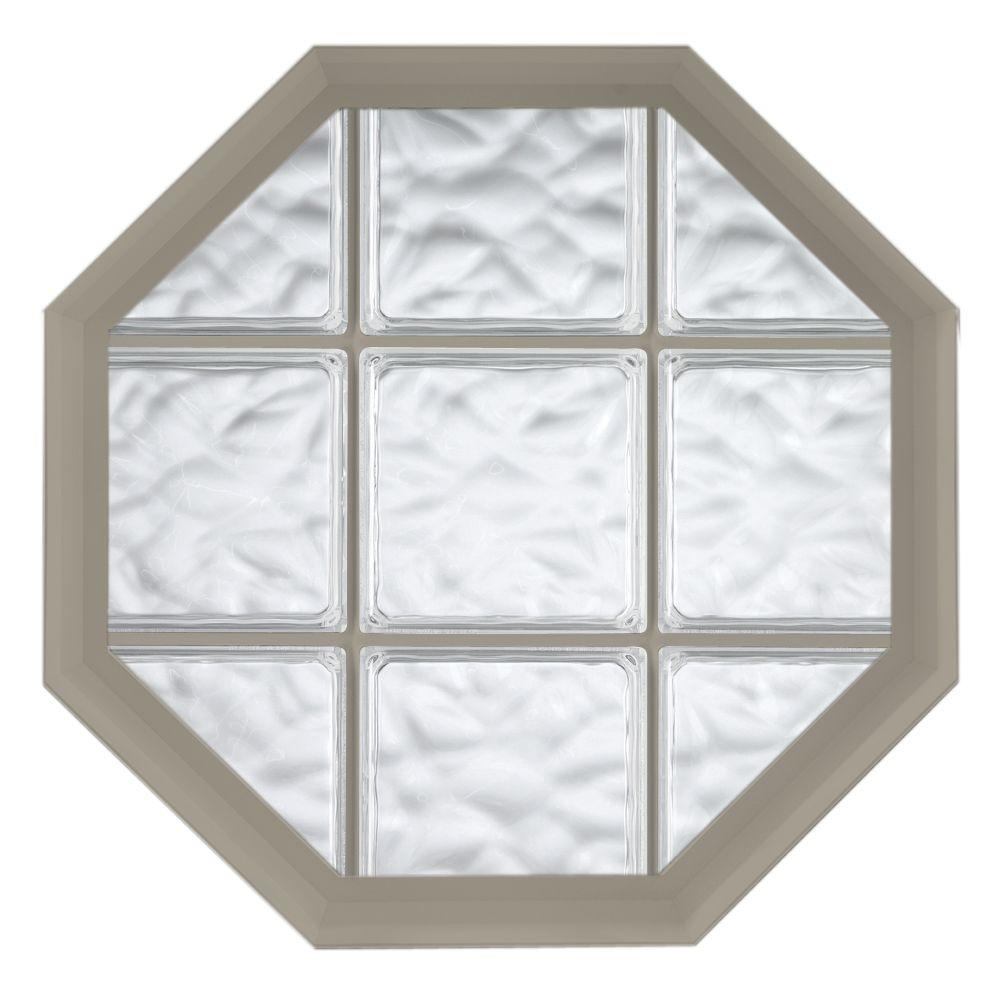 Hy lite 26 in x 26 in acryilc block fixed octagon vinyl for Plastic glass block windows