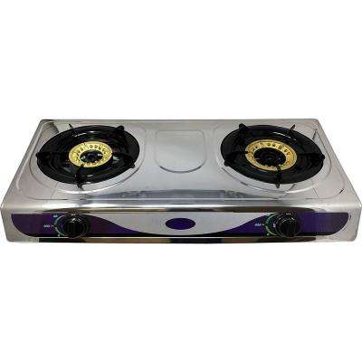 15 in. Propane Gas Cooktop Stove in Stainless Steel with Heavy Duty Portable 2-Burner