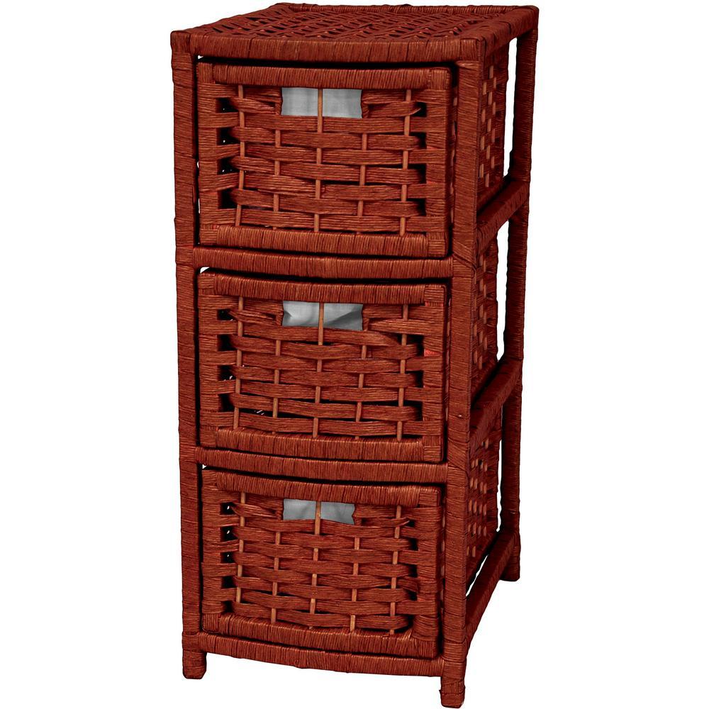 Oriental Furniture 3-Drawer Mahogany Natural Fiber Occasional Storage Chest