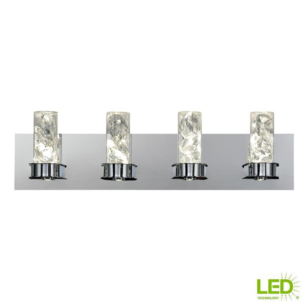 Cusseta 30-Watt Crystal Integrated LED 4-Light Vanity Light