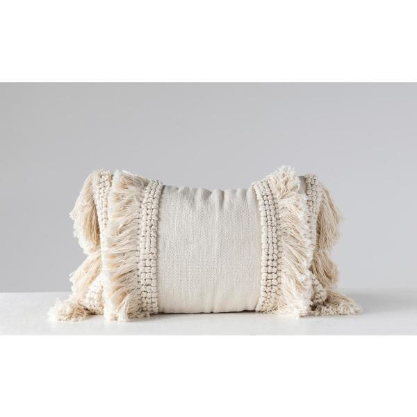3R Studios - Cream Cotton and Chenille Woven Lumbar 24 in. x 16 in. Throw Pillow