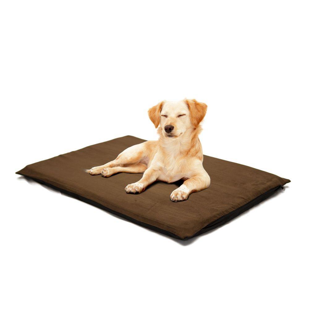 2 in. Large Suede Espresso Orthopedic Foam Pet Bed