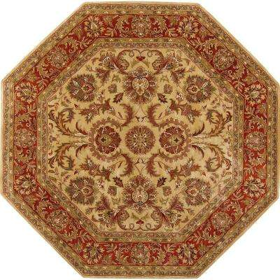 Alma Gold Semi-Worsted New Zealand Wool 8 ft. Octagon Area Rug