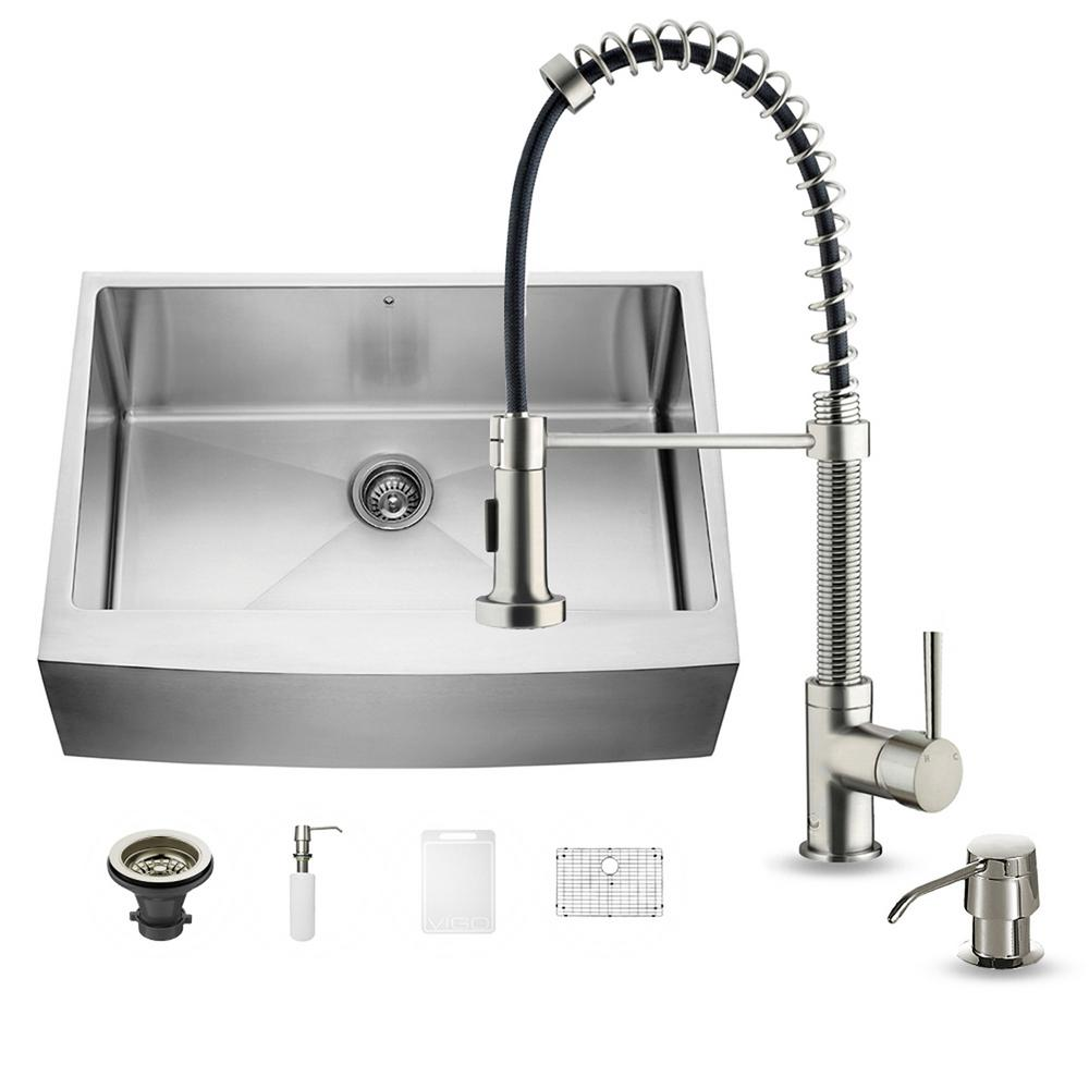 VIGO All In One Farmhouse Apron Front Stainless Steel 30 In. 0