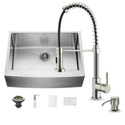 All-in-One Farmhouse Apron Front Stainless Steel 30 in. 0-Hole Single Bowl Kitchen Sink and Faucet Set