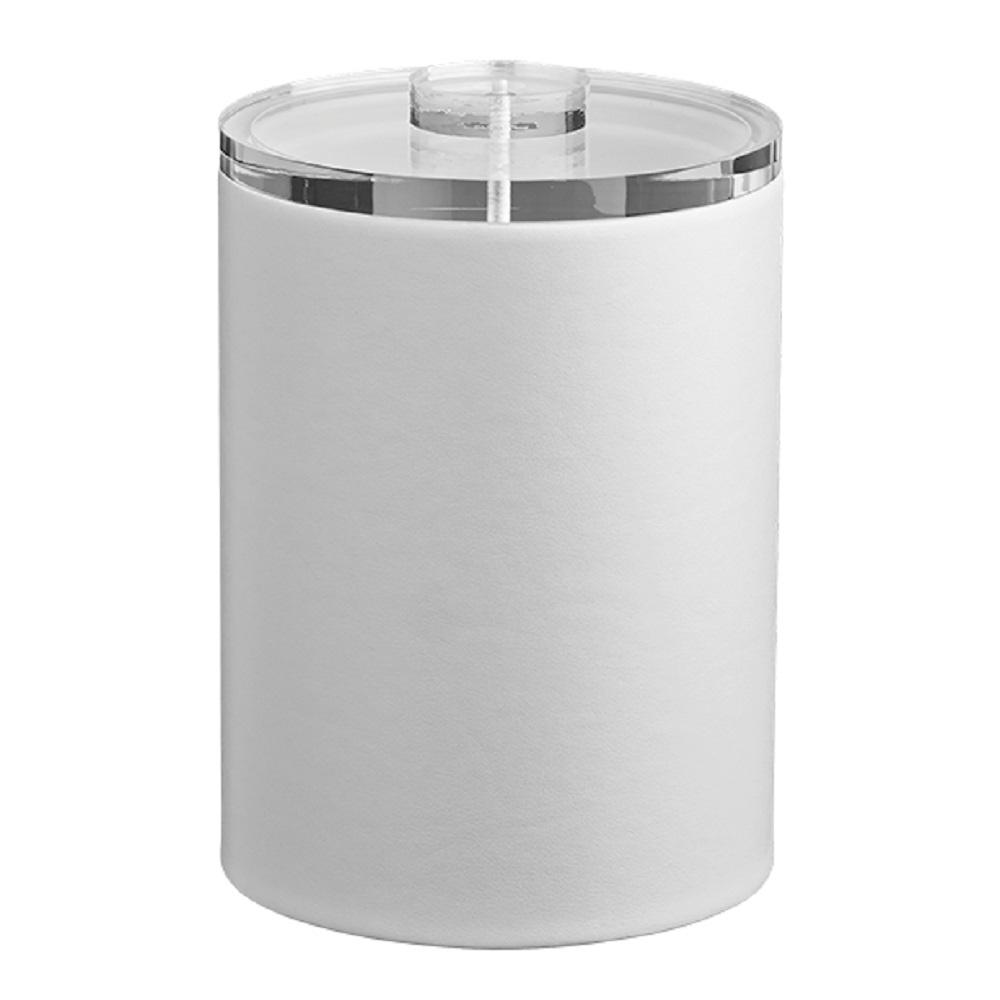 Contempo 2 Qt. White Tall Ice Bucket with Thick Lucite Lid