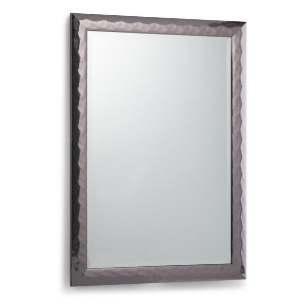 Medium Rectangle Pewter Contemporary Mirror (38.3 in. H x 26.3 in. W)