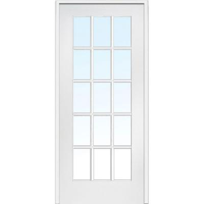 36 in. x 80 in. Left Handed Primed Composite Clear Glass 15 Lite True Divided Single Prehung Interior Door