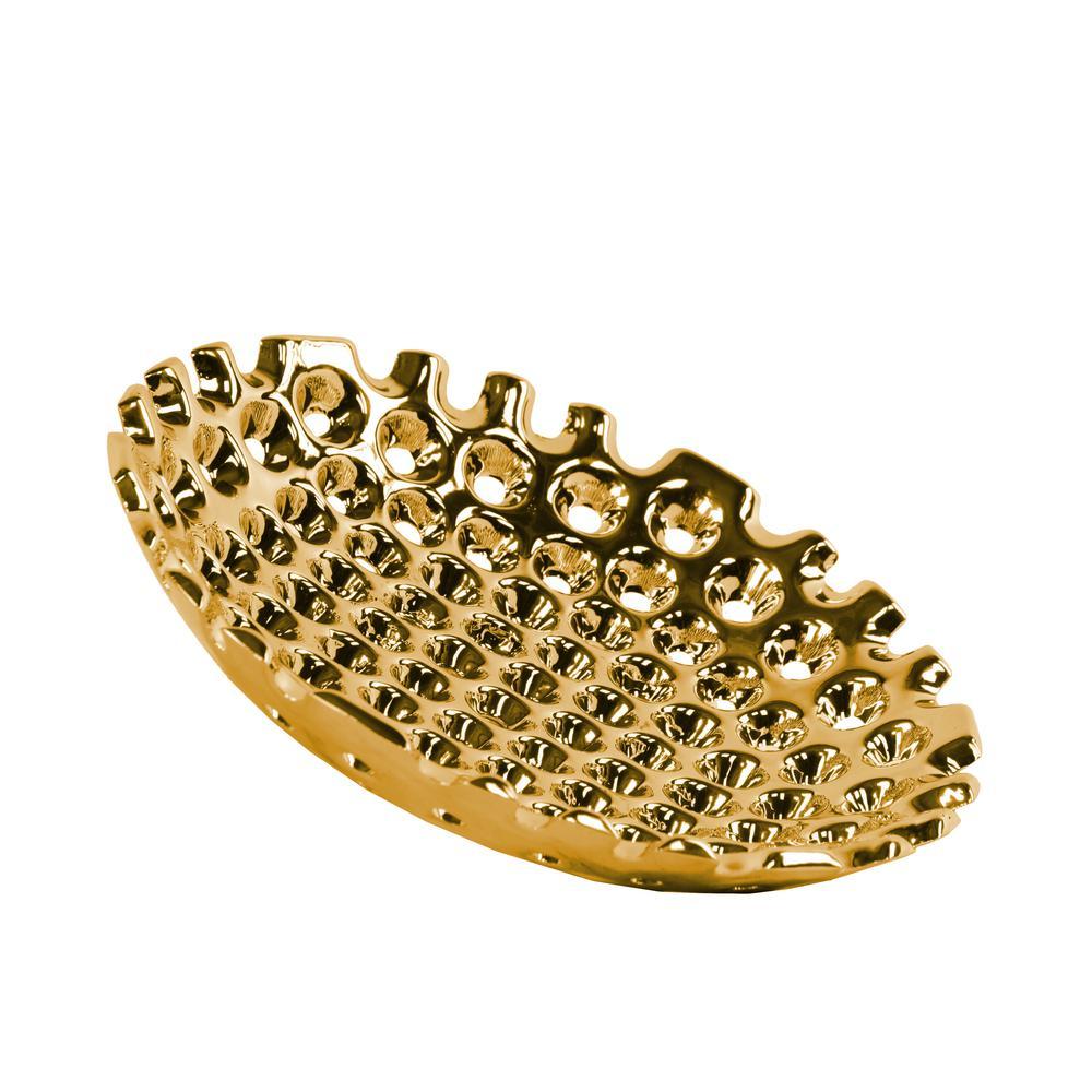 Gold Ceramic Decorative Tray