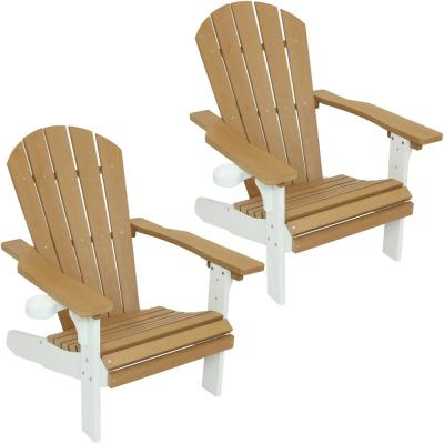 All-Weather Polyethylene Adirondack Patio Chair with 2-Tone Faux Wood Design, Set of 2 in Brown/White