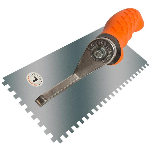Ergonomic 1/4 in. x 1/4 in. x 1/4 in. Stainless Steel Square Notched Flooring Trowel with Left Adjustable Handle