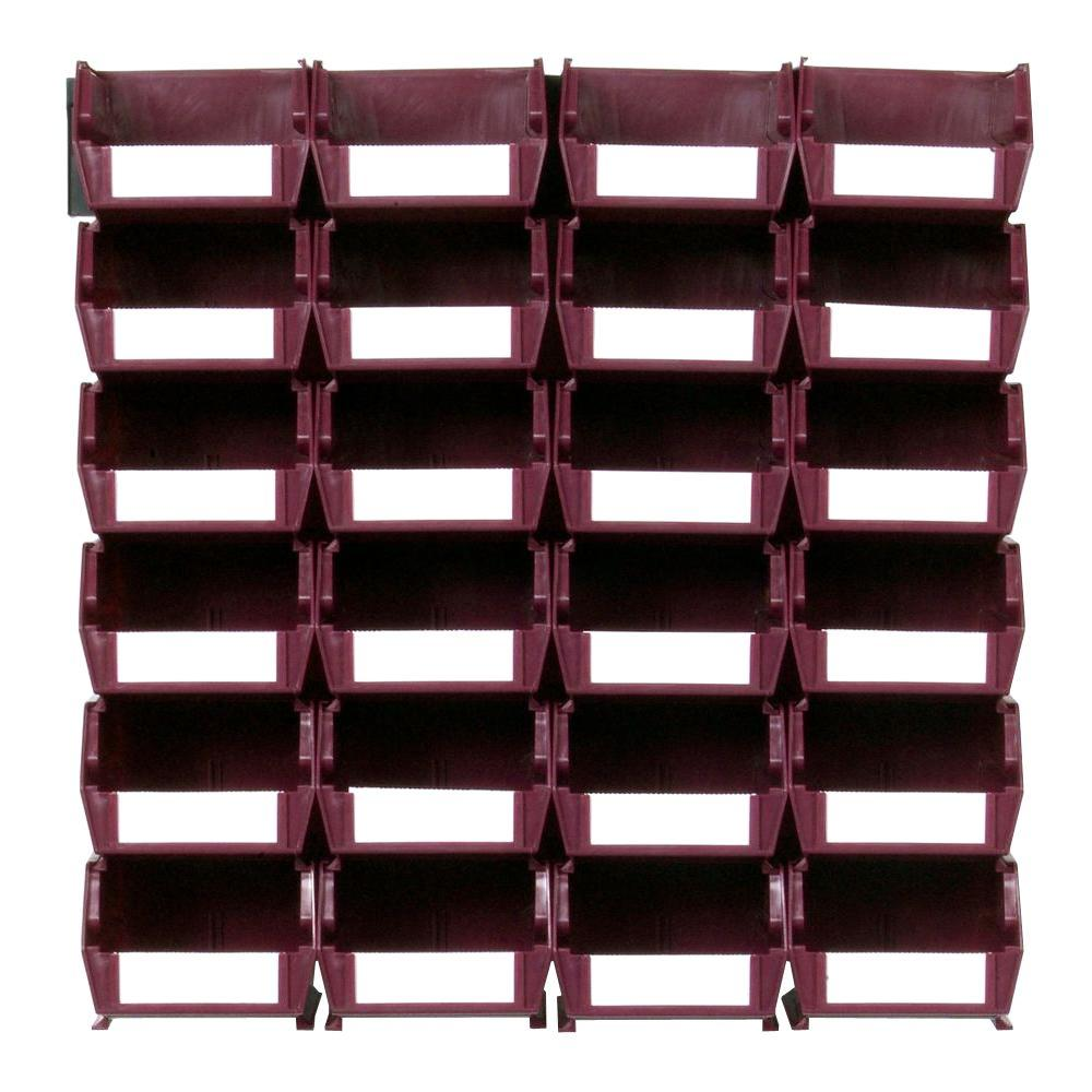 triton products locbin small wall storage bin 24 piece with 2 wall mount rails in raspberry 3. Black Bedroom Furniture Sets. Home Design Ideas