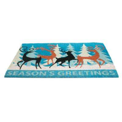 PVC Backed Coir Mat, Deer Family, 30 in. x 18 in. Natural Coconut Husk Doormat