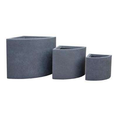 Lightweight Concrete Short Corner Planter (Set of 3)