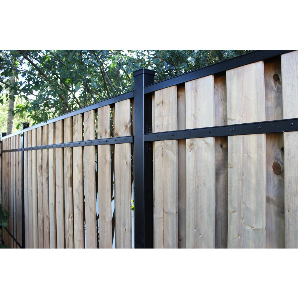 Slipfence 2 in  x 3 in  x 8 ft  Black Aluminum Fence Rail Kit
