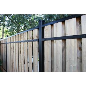 Slipfence 2 In X 3 In X 8 Ft Black Aluminum Fence Rail