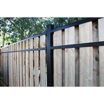 2 in. x 3 in. x 8 ft. Black Aluminum Fence Rail Kit