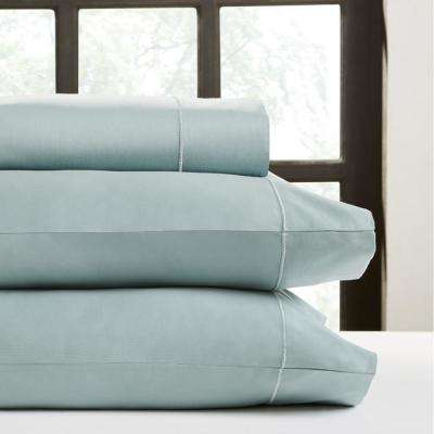Ocean Blue T750 Solid Combed Cotton Sateen California King Sheet Set