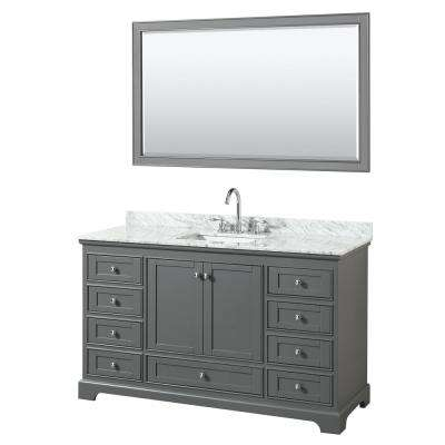 60 in. W x 22 in. D Vanity in Dark Gray with Marble Vanity Top in Carrara White with White Basin and 58 in. Mirror