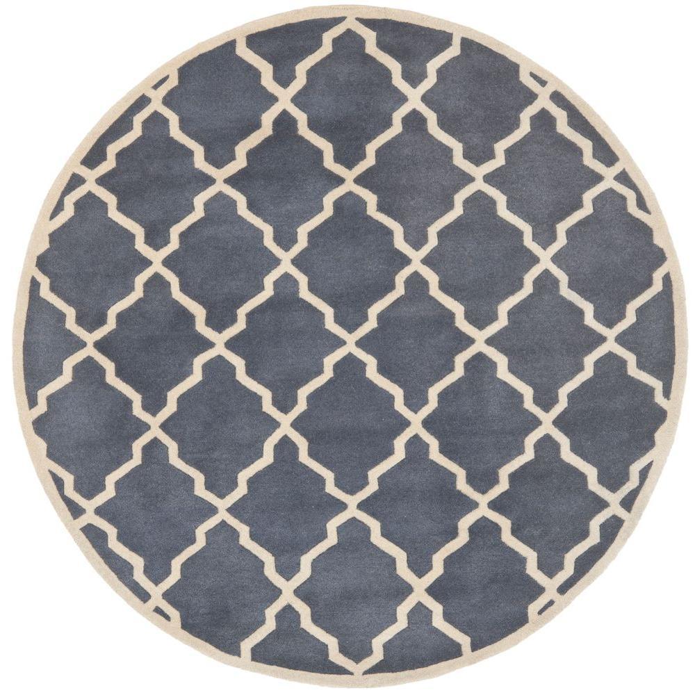 safavieh chatham grey 7 ft x 7 ft round area rug cht940k 7r the home depot. Black Bedroom Furniture Sets. Home Design Ideas