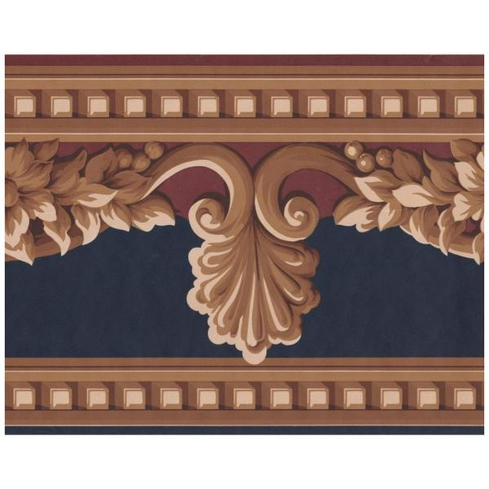. Beige Brown Victorian Garnet Red on Black Prepasted Wallpaper Border
