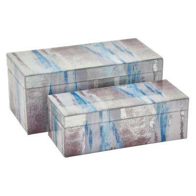 6 in. Glass Box in Blue (Set of 2)