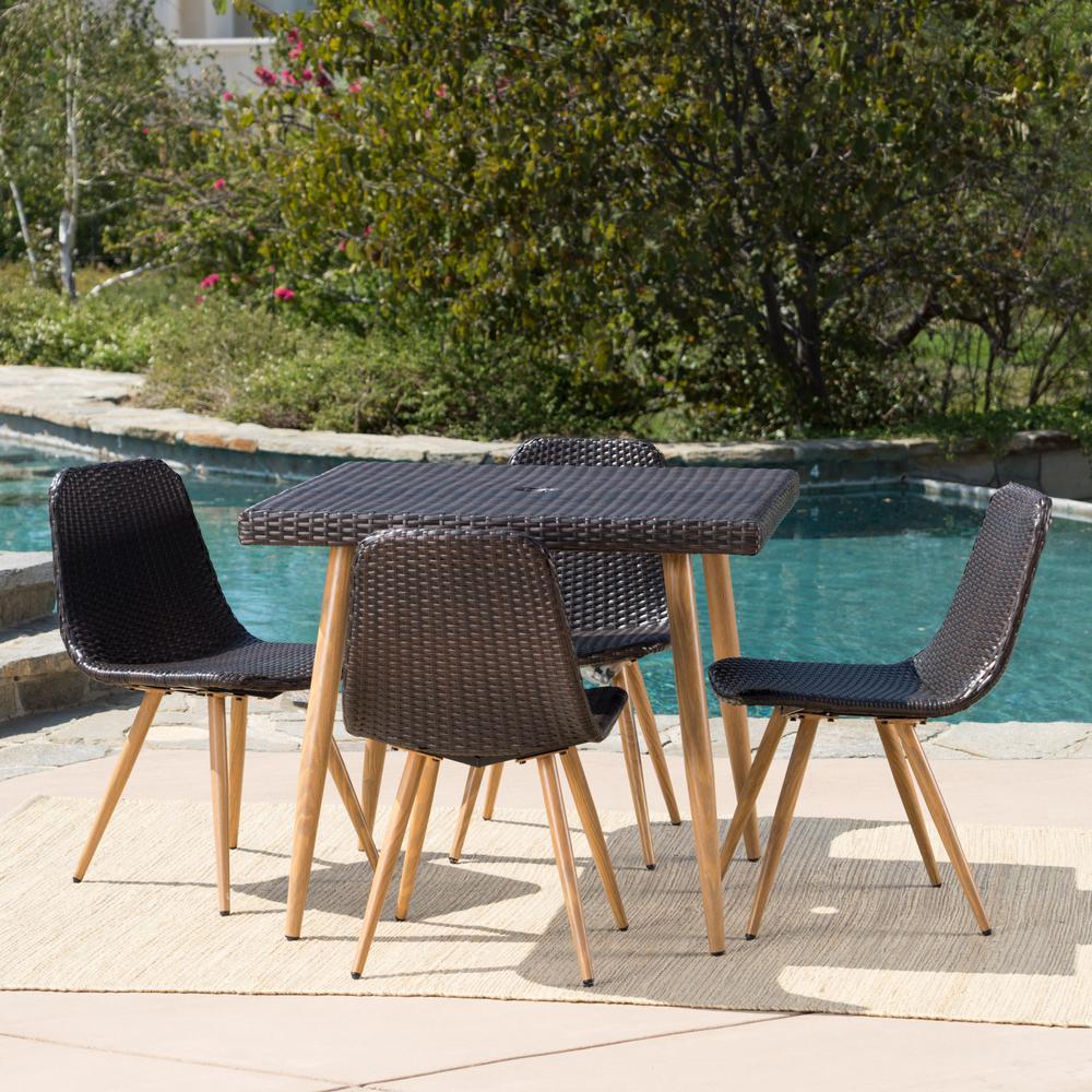 Gila Multi-Brown 5-Piece Wicker Outdoor Dining Set