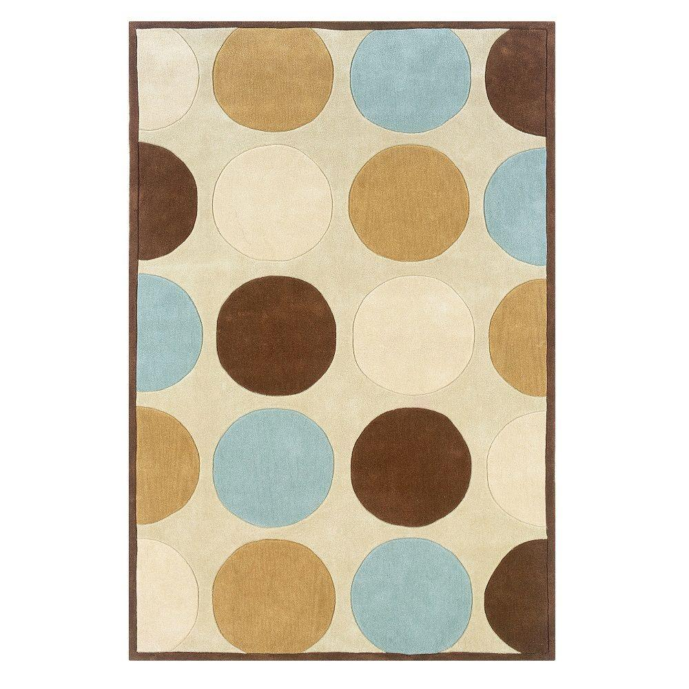 linon home decor trio collection tan and ice blue 5 ft x 7 ft indoor area rug rug tab20357. Black Bedroom Furniture Sets. Home Design Ideas