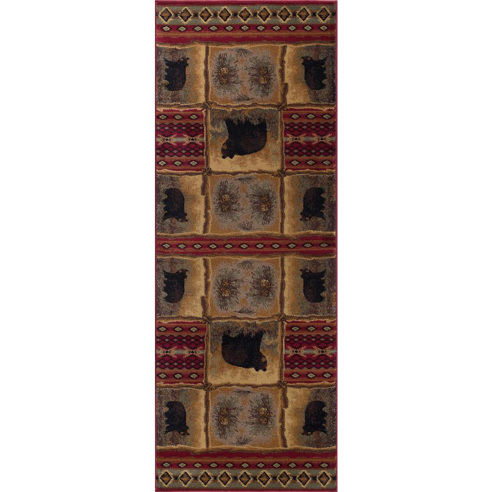 Tayse Rugs Nature Red 3 Ft. X 7 Ft. Lodge Runner Rug