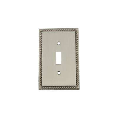 Rope Switch Plate with Single Toggle in Satin Nickel