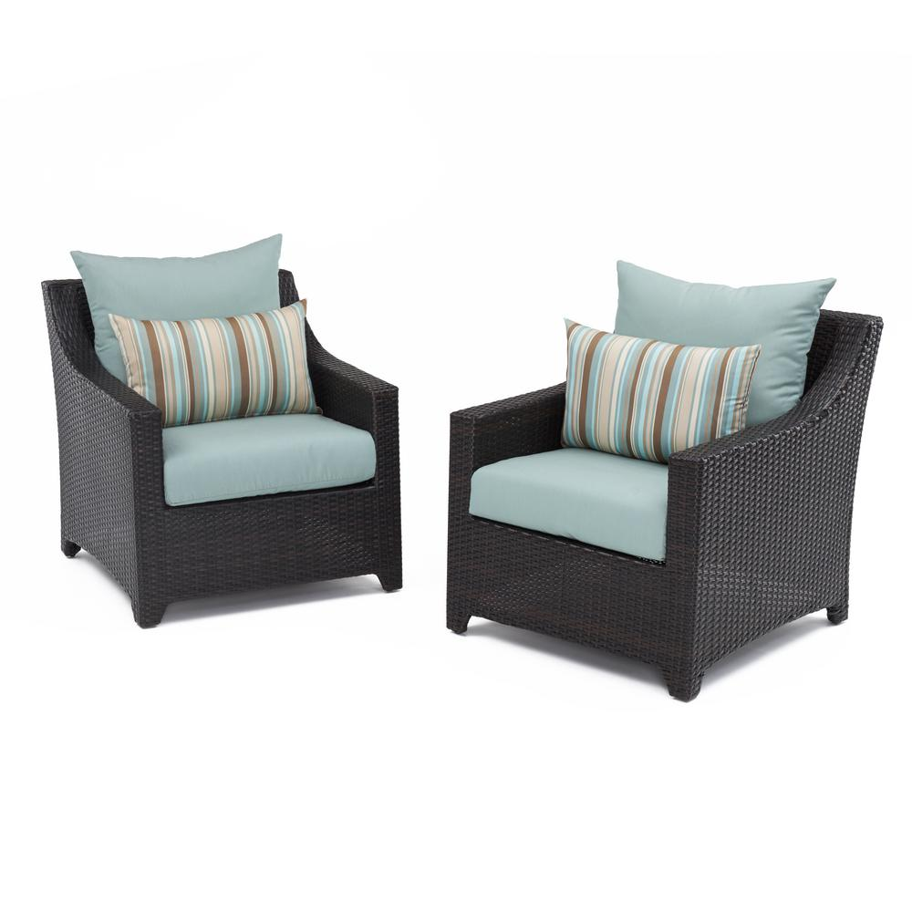 Deco Patio Club Chair with Bliss Blue Cushions (2-Pack)