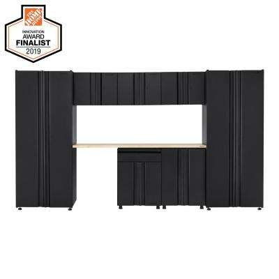 Welded 133 in. W x 75 in. H x 19 in. D Steel Garage Cabinet Set in Black (8-Piece with Solid Wood Work Surface)