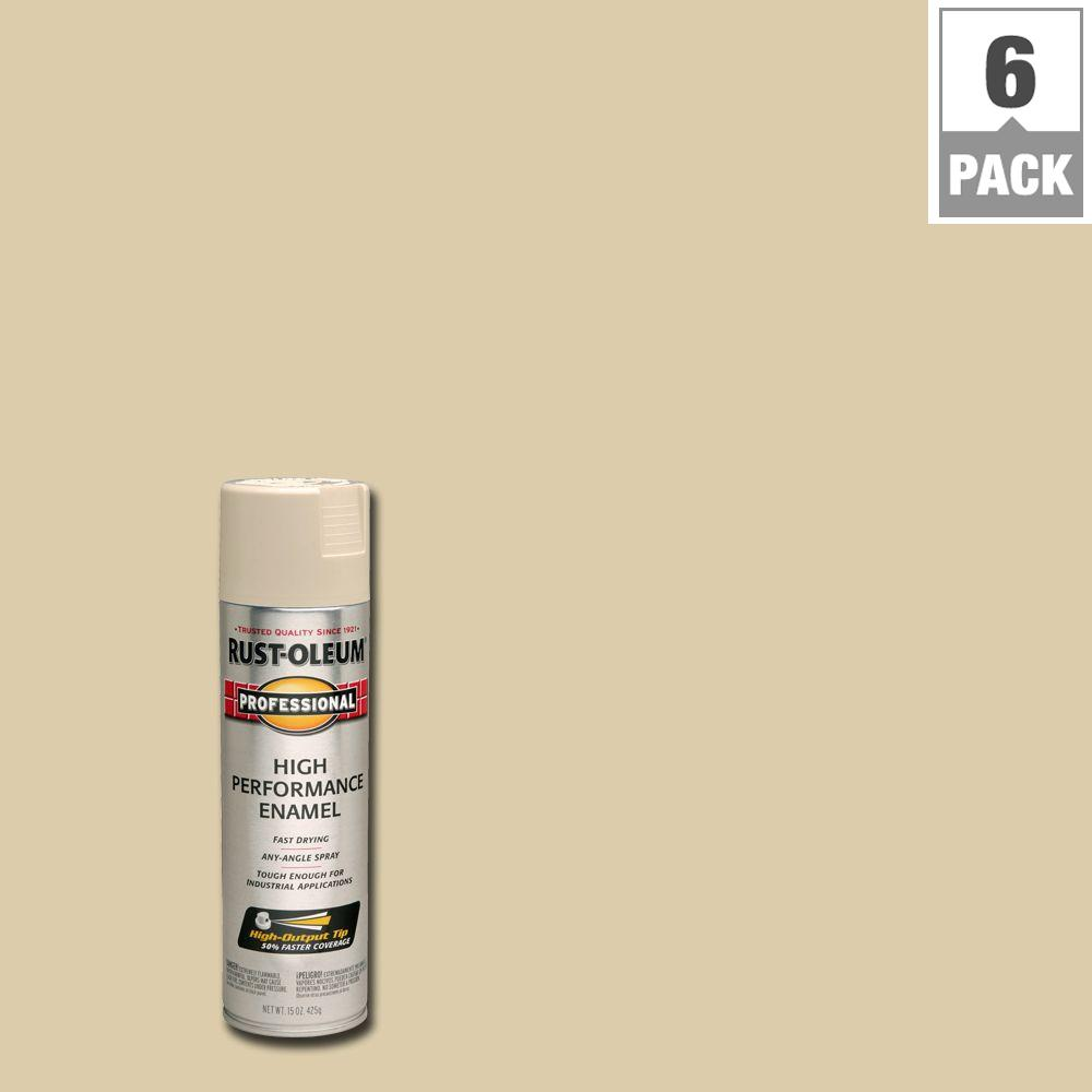 15 oz. High Performance Enamel Gloss Almond Spray Paint (6-Pack)