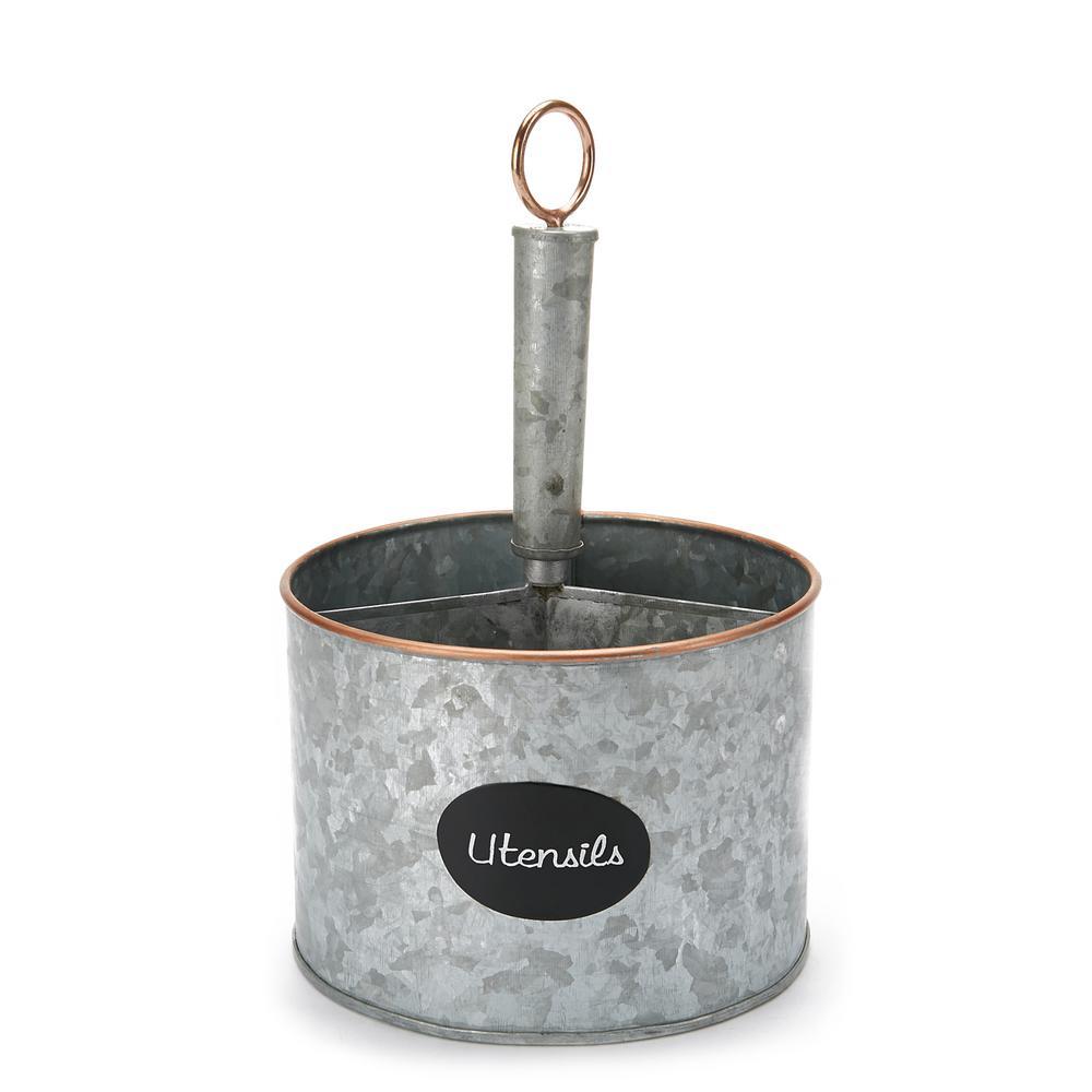 Silver Metal 4 Section Utensil Holder, Cutlery Holder, Utensil Caddy