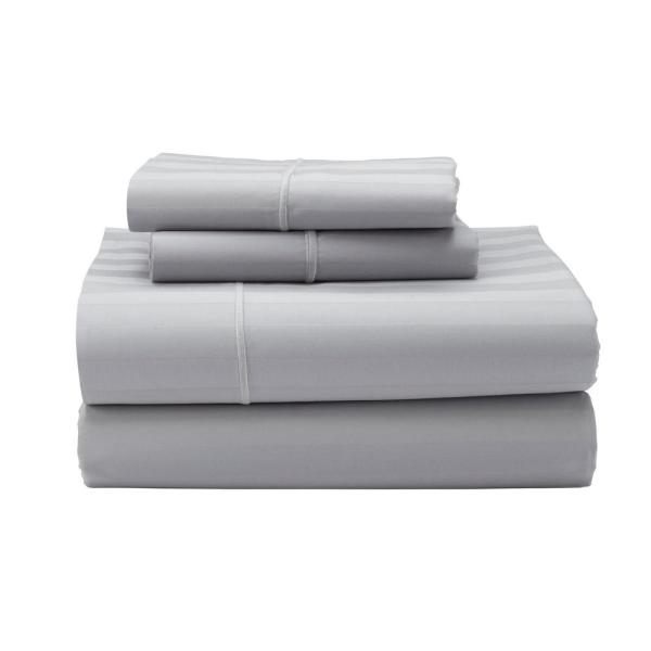 The Company Store Classic Stripe 4-Piece Platinum 350-Thread Count Sateen Queen