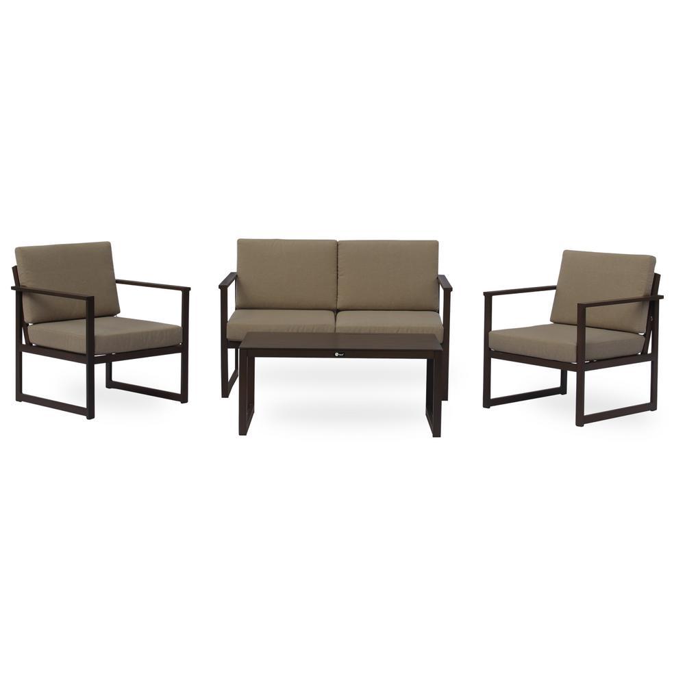 Oceana Brown 4 -Piece Aluminum Outdoor Sofa Set with Gray Cushions