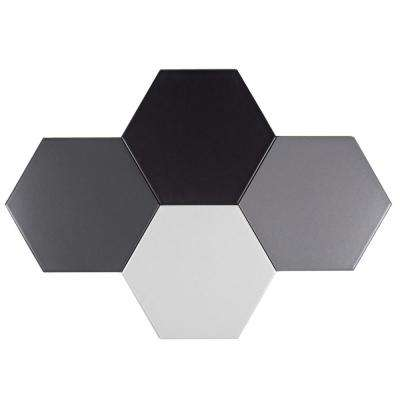Gray Hexagon 7 in. x 7 in. Matte Ceramic Decorative Bathroom Wall and Floor Tile (11.40 Sq. ft./ Box)