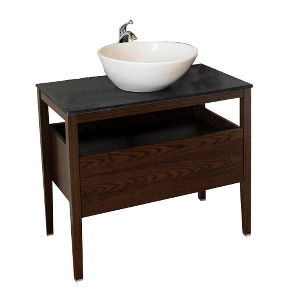 Clifford 36 in. W Single Vanity in Dark Walnut with Granite Vanity Top in Black